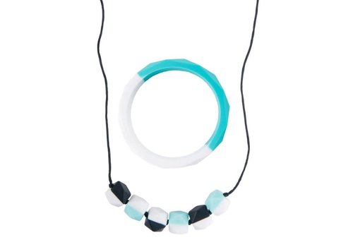 Nibbling Armband Half moon turquoise/white