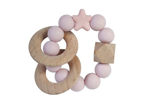 Nibbling Teether natural wood baby pink