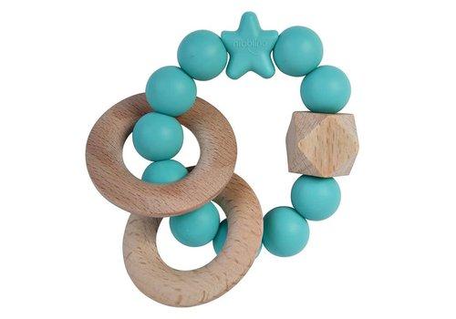 Nibbling Bijtring natural wood turquoise