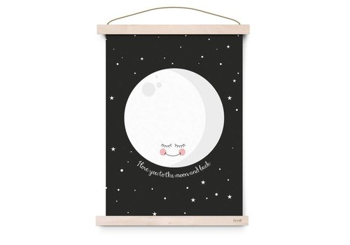 Eef Lillemor Poster I Love You To The Moon And Back black