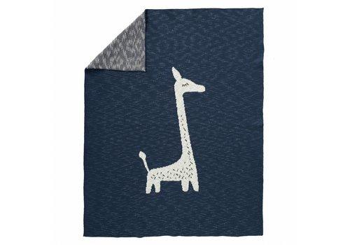 Fresk Deken gebreid 80x100cm Giraf indigo
