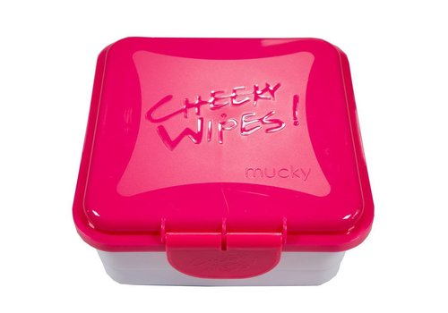 Cheeky Wipes Mucky Baby Wipes container box pink