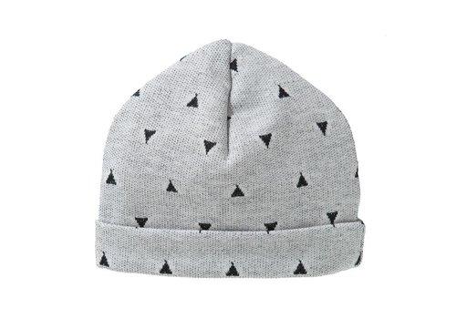 Cottonbaby Babymutsje driehoekjes grijs/zwart