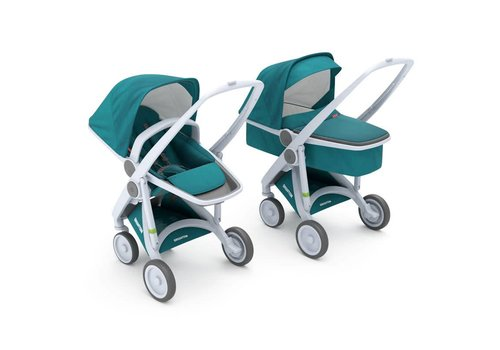 Greentom 2-in-1 Carrycot & Reversible Grey/Teal