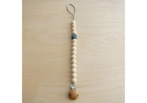 klein atelier Pacifier clip wood/grey