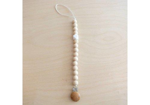 klein atelier Pacifier clip wood/white