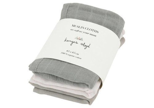Konges Sløjd Muslin cloths 3-pack Lime stone