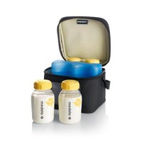 Cooler bag with ice pack and 4 bottles