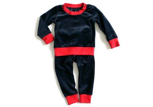 mundo melocotón 2-delige pyjama Velvet Blue/Red 98-104