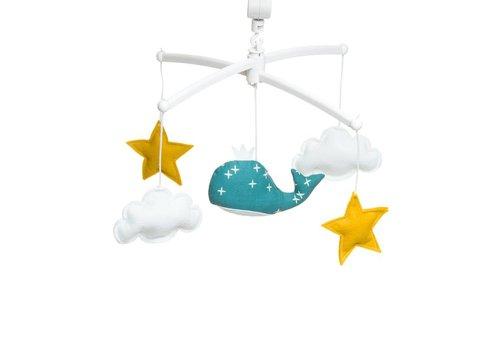 Pouce et Lina Muziekmobiel Whale duck blue