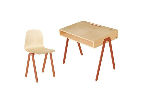 In2wood Desk & chair Large rotorange