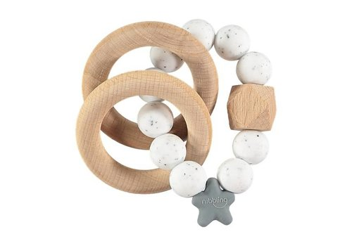 Nibbling Teether natural wood speckled