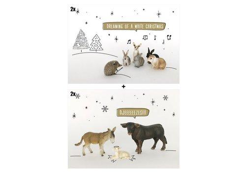 Leuke Kaartjes Kerstpakket 4 kaarten