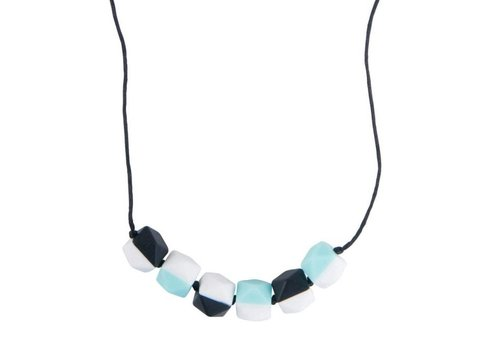 Nibbling Necklace Half moon turquoise/black