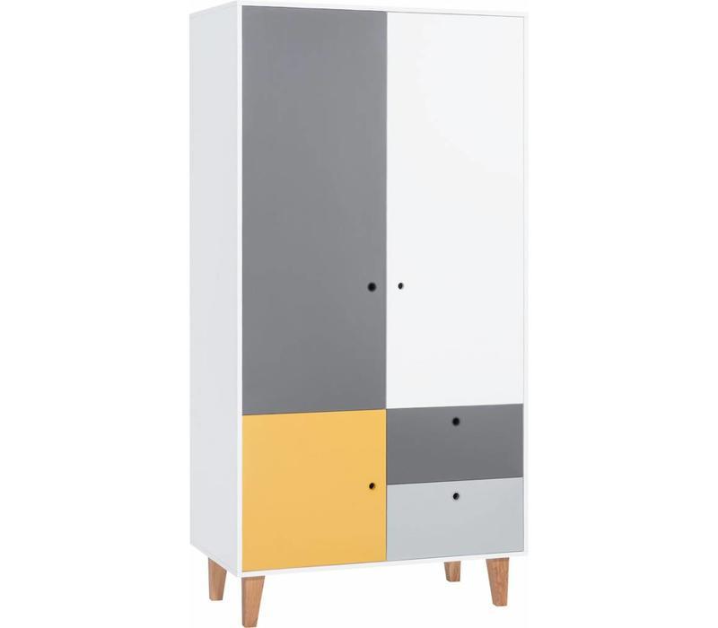 Kleerkast 2 Deurs.Vox Concept Kleerkast 2 Deurs White Grey Graphite Saffron