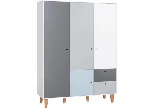 Vox CONCEPT 3-door wardrobe white/grey/graphite/blue