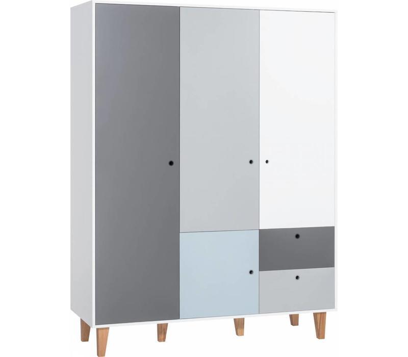 Kleerkast 3 Deurs.Vox Concept Kleerkast 3 Deurs White Grey Graphite Blue Atelier Bebe
