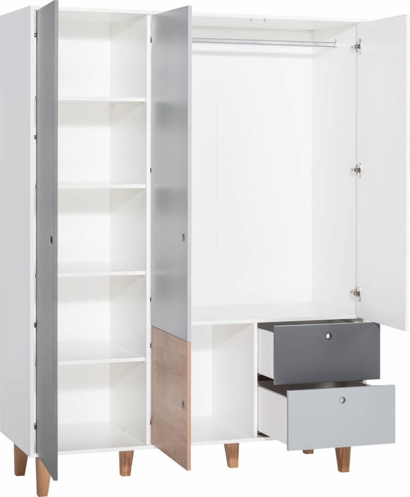 Kleerkast 3 Deurs.Vox Concept Kleerkast 3 Deurs White Grey Graphite Oak Atelier Bebe