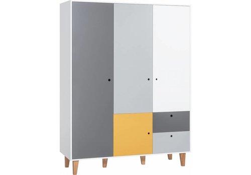 Vox CONCEPT Kleerkast 3-deurs white/grey/graphite/saffron