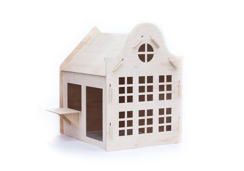 Wool & Woodies Speelhuisje Klokgevel 120cm met krijtbord