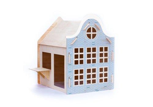Wool & Woodies Speelhuisje Klokgevel 120cm met krijtbord blauw