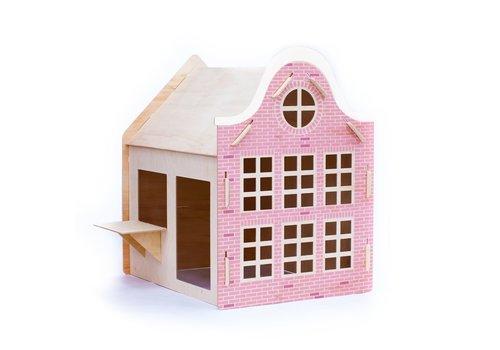 Wool & Woodies Speelhuisje Klokgevel 120cm met krijtbord roze
