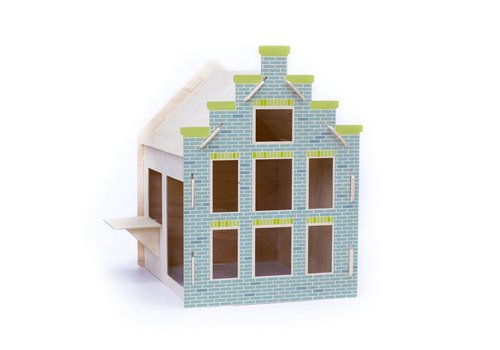 Wool & Woodies Speelhuisje Trapgevel 120cm blauw