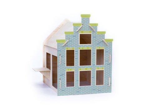 Wool & Woodies Speelhuisje Trapgevel 120cm met krijtbord blauw