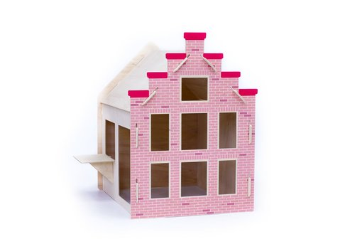 Wool & Woodies Speelhuisje Trapgevel 120cm met krijtbord roze