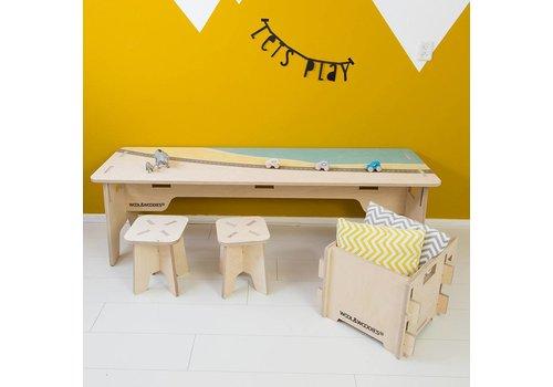 Wool & Woodies Playtable 120cm with beach print