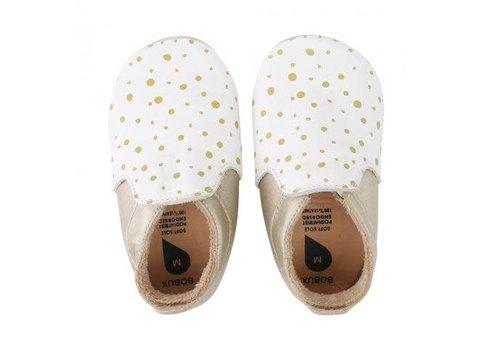 Bobux Soft Soles Wit/gouden stip loafer