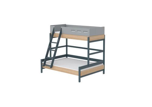 Flexa POPSICLE Family bed with slanting ladder oak/blueberry