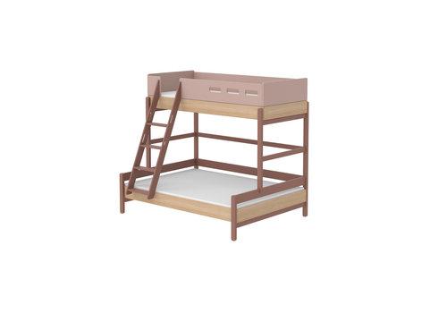 Flexa POPSICLE Familiebed met schuine ladder oak/cherry