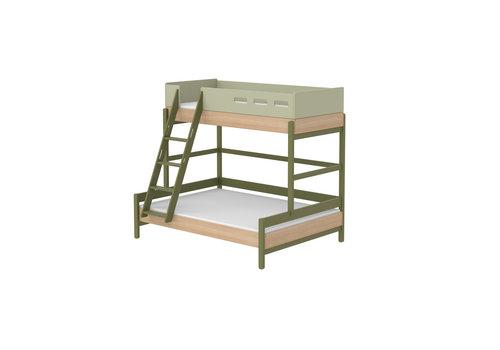 Flexa POPSICLE Familiebed met schuine ladder oak/kiwi