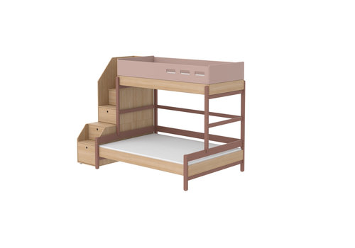Flexa POPSICLE Family bed with staircase oak/cherry