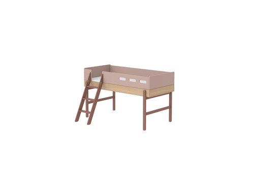 Flexa POPSICLE Mid-high bed slanting ladder oak/cherry