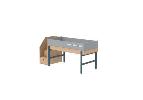 Flexa POPSICLE Mid-high bed with staircase oak/blueberry