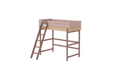 Flexa POPSICLE Hoogslaper schuine ladder oak/cherry