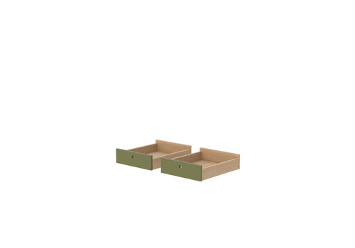 Flexa POPSICLE Drawers for desk set of 2 pcs oak/kiwi