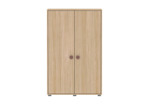 Flexa POPSICLE Low wardrobe 2-doors oak/cherry