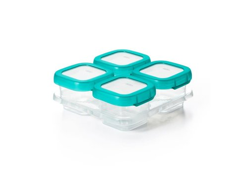 OXOtot Baby Blocks Freezer Storage Containers (4x120 ml) Teal