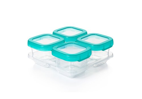 OXOtot Baby Blocks Freezer Storage Containers (4x180ml) Teal