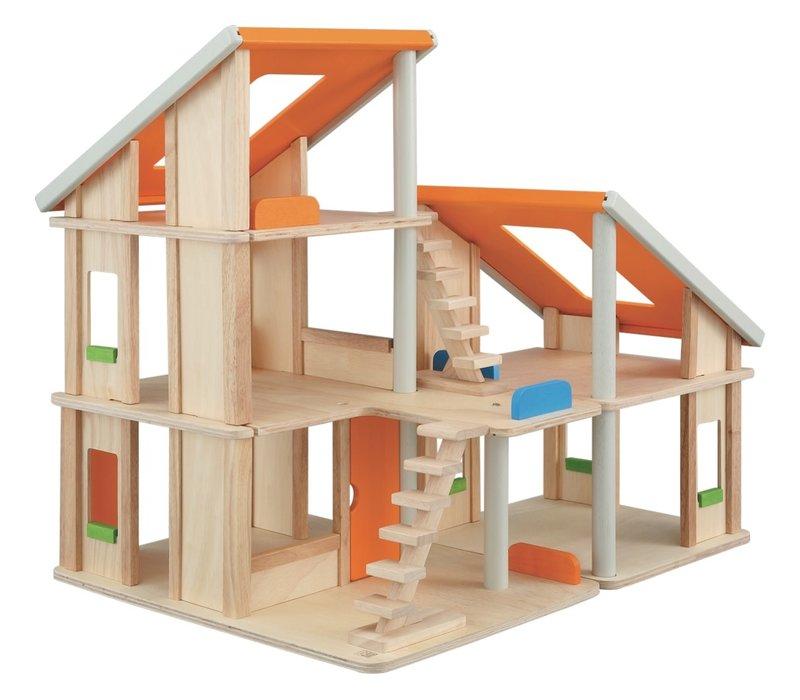Chalet poppenhuis met meubels