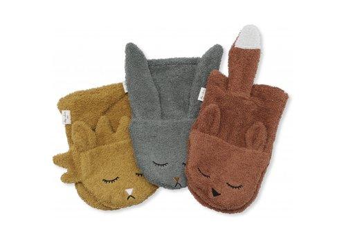 Konges Sløjd Washandjes 3 pack animals boy