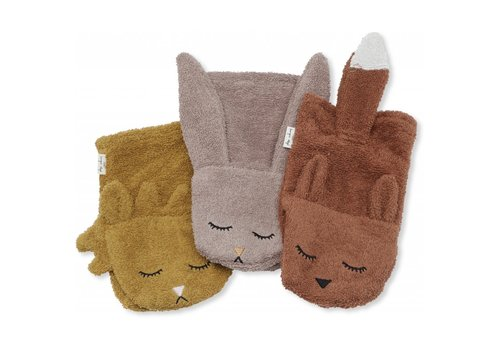 Konges Sløjd Wash cloths 3 pack animals girl