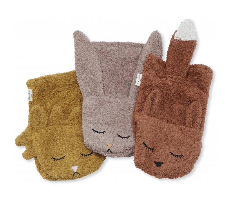 Washandjes 3 pack animals girl