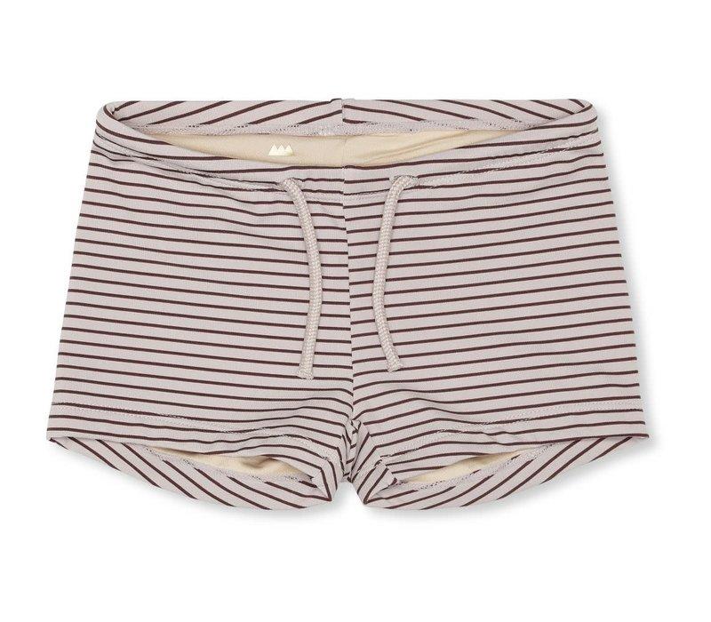 Soleil uni swim shorts striped bordeaux