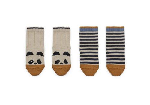 Liewood Silas kousen 2st Panda/stripe ecru