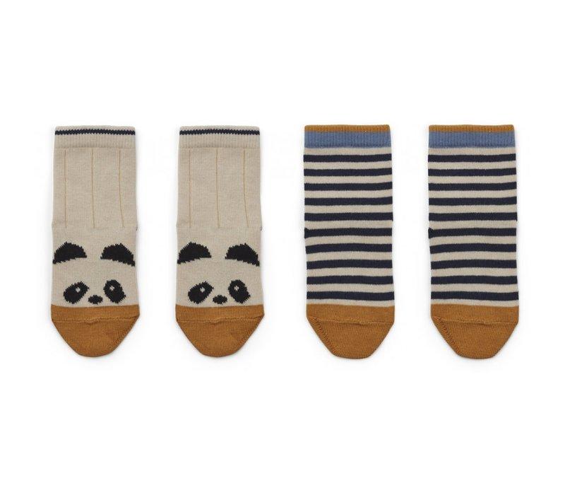 Silas kousen 2st Panda/stripe ecru