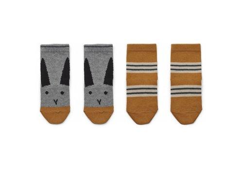 Liewood Silas socks 2pcs Rabbit/stripe mustard